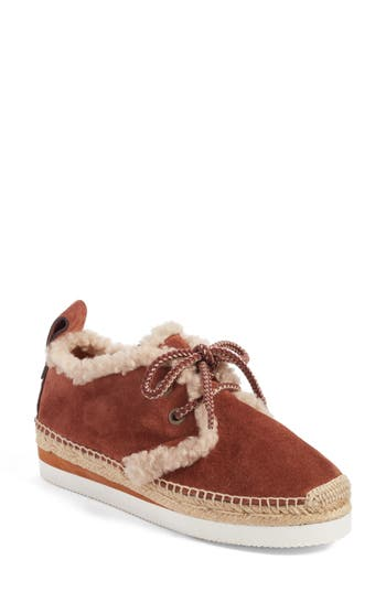 See By Chloe Glyn Genuine Shearling Lace-Up Espadrille, Brown