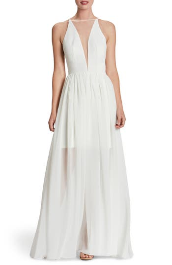 Dress The Population Patricia Illusion Gown, Ivory