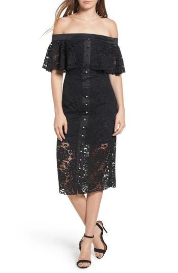 Keepsake The Label Star Crossed Off The Shoulder Lace Dress, Black