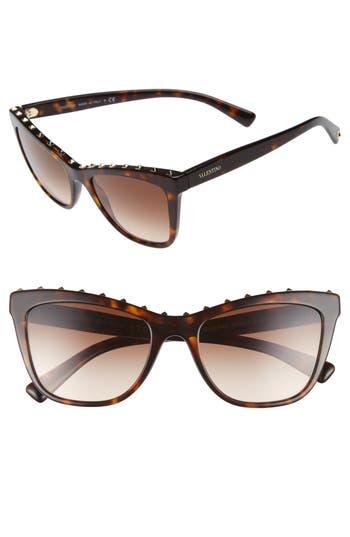 Valentino Rockstud 5m Cat Eye Sunglasses - Brown/ Havana