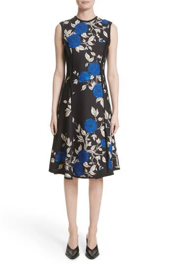 Jason Wu Floral Crepe Fit & Flare Dress, Black