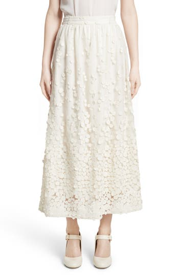 Women's Co Pebbles Embroidered Mesh Midi Skirt