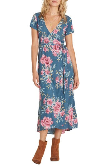 Billabong Wrap Me Up Floral Print Wrap Dress, Blue
