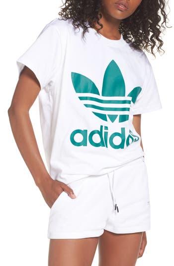 Women's Adidas Originals Trefoil Logo Tee, Size X-Small - White