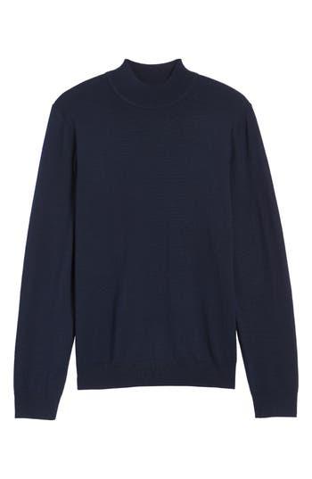 Big & Tall Nordstrom Shop Mock Neck Merino Wool Sweater, Blue