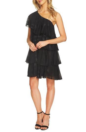 Cece One Shoulder Ruffle Tiered Dress, Black