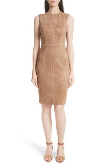 Tracy Reese Faux Suede Sheath Dress, Brown