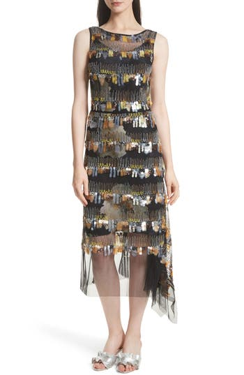 Tracy Reese Flange Beaded Fringe Midi Dress, Black