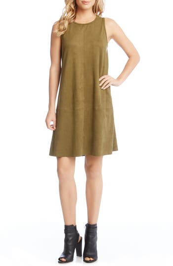 Karen Kane Faux Suede A-Line Dress, Green