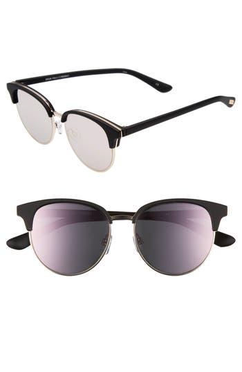 Le Specs Deja Vu 51Mm Round Sunglasses - Black Rubber