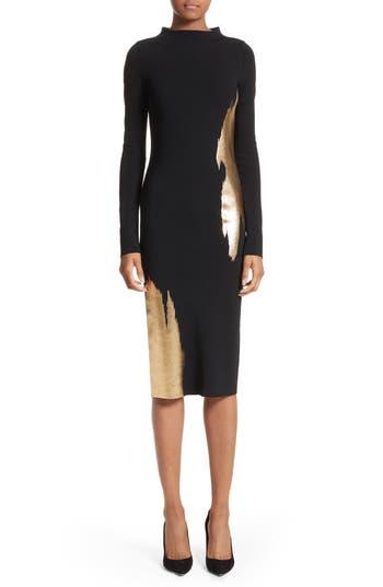 Oscar De La Renta Gold Brushstroke Knit Dress, Black