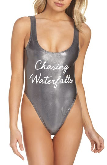 Private Party Chasing Waterfalls Metallic One-Piece Swimsuit, Metallic