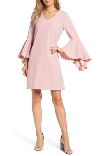 Eliza J Bell Sleeve Crepe Shift Dress, Pink