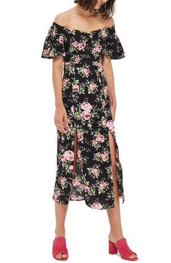 Topshop Rose Print Off The Shoulder Midi Dress, US (fits like 2-4) - Black