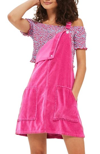 Women's Topshop Velvet Pinafore Dress, Size 2 US (fits like 0) - Pink