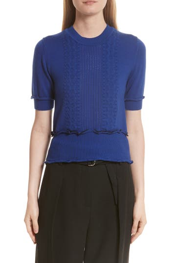 3.1 Phillip Lim Puffy Cable Merino Wool Blend Sweater, Blue
