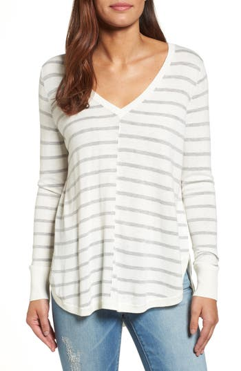 Caslon High-Low V-Neck Sweater, Ivory