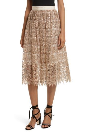 Women's Alice + Olivia Metallic Lace Skirt, Size 0 - Metallic