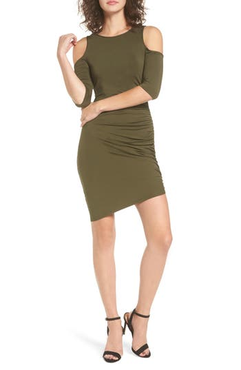 Women's Soprano Ruched Cold Shoulder Dress, Size X-Small - Green