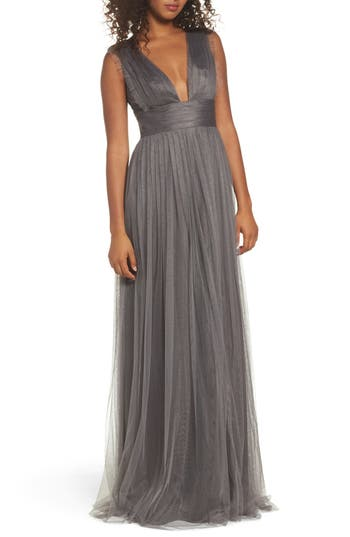 Monique Lhuillier Bridesmaids Isla Ruffle Pleated Tulle Gown, Grey