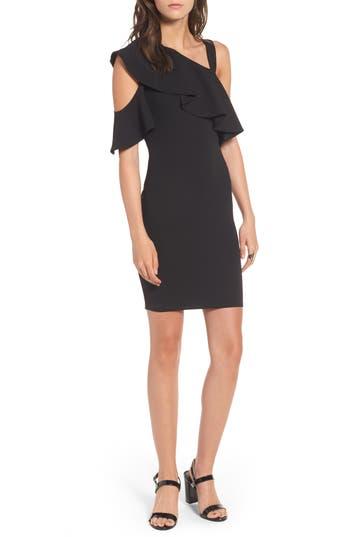 Soprano Ruffle One-Shoulder Body-Con Dress, Black