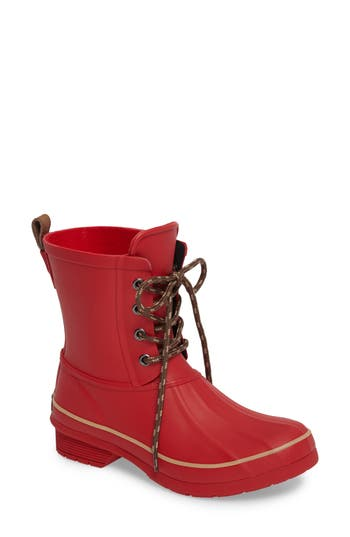 Women's Chooka Classic Lace-Up Duck Boot, Size 6 M - Red