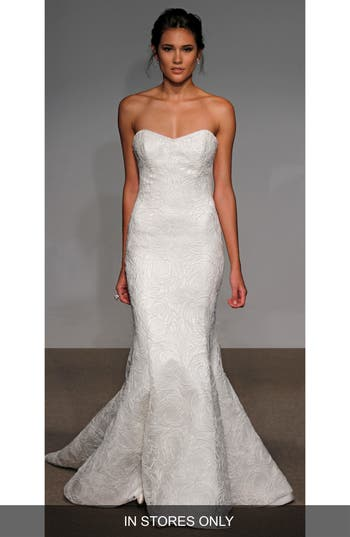 Anna Maier Couture Alberta Strapless French Lace Trumpet Gown