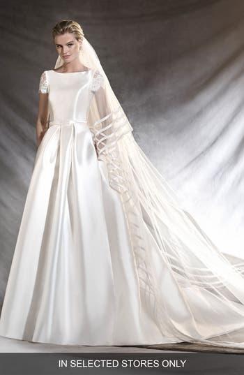 Pronovias Otelo Short Sleeve Mikado A-Line Gown
