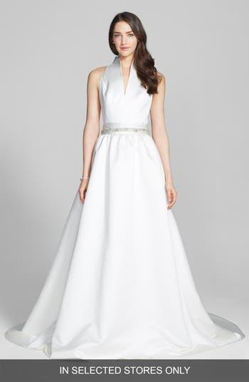 Jesus Peiro Satin Dress With Embellished Waist Overskirt