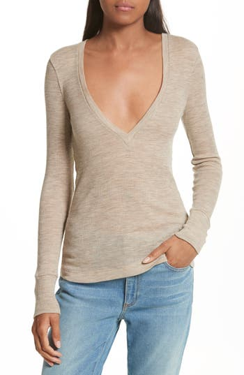 T By Alexander Wang Sheer Wool Sweater, Brown