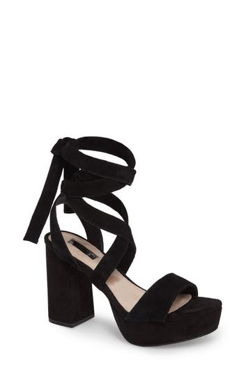 Women's Topshop Leonardo Lace-Up Platform Sandal, Size 6.5US / 37EU - Black