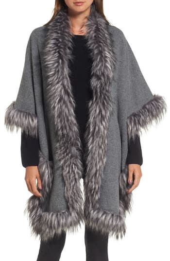 Women's Love Token Knit Poncho With Faux Fur Trim at NORDSTROM.com