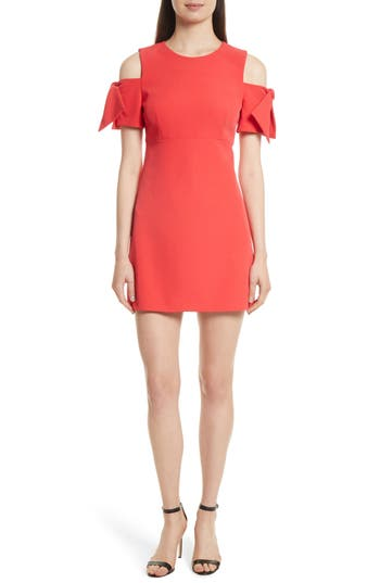 Milly Italian Cady Mod Tie Cold Shoulder Minidress, Red