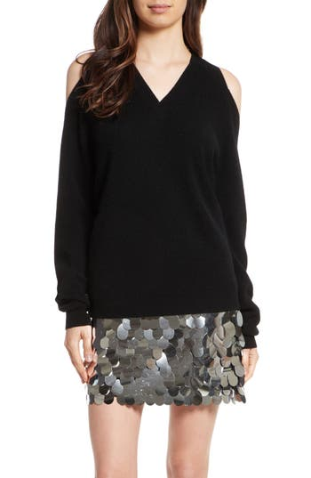 Women's Milly Cold Shoulder Cashmere Pullover, Size Petite - Black
