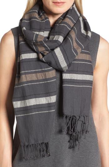 Women's Eileen Fisher Stripe Organic Cotton & Wool Scarf