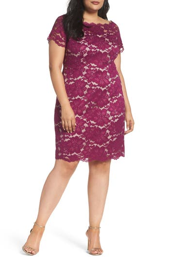 Plus Size Adrianna Papell Off The Shoulder Lace Sheath Dress, Purple