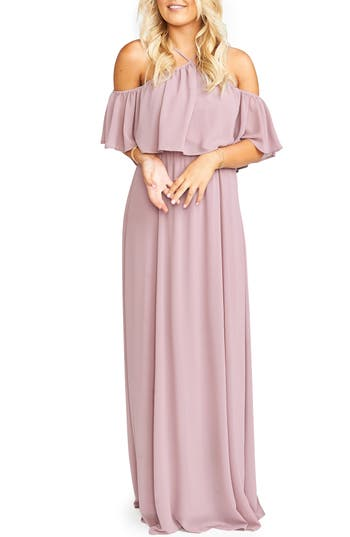 Show Me Your Mumu Rebecca Off The Shoulder Chiffon Gown, Pink