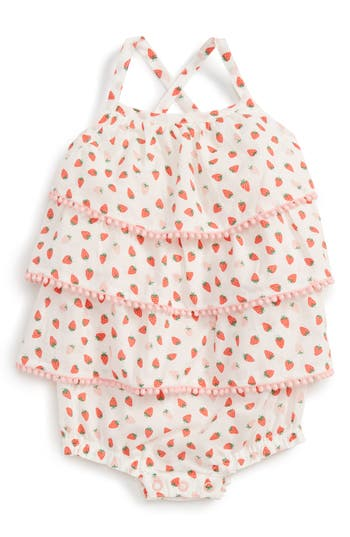 Infant Girl's Mini Boden Ruffle Bubble Romper, Size 3-6M - Pink