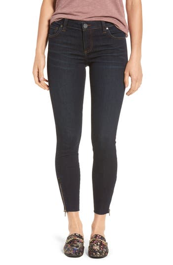Kut From The Kloth Connie Skinny Ankle Zip Hem Jeans, Blue