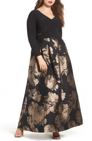 Plus Size Xscape Mesh Inset Print Skirt Gown, Black