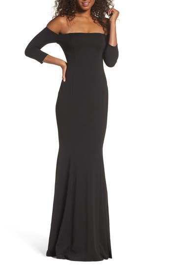 Katie May Three-Quarter Sleeve Off The Shoulder Gown, Black