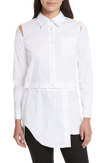 Women's Milly Fractured Poplin Blouse, Size 6 - White