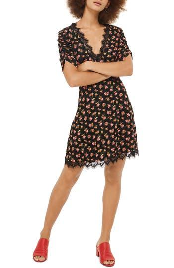 Topshop Floral Tea Dress, US (fits like 0) - Black