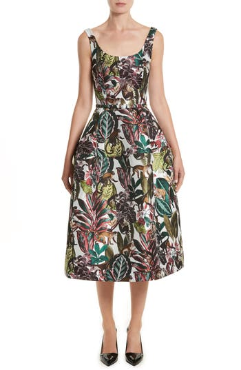 Oscar De La Renta Jungle Jacquard Dress, Green