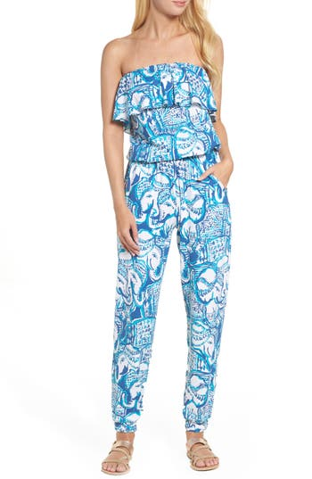 Women's Lilly Pulitzer Ailsie Strapless Jumpsuit, Size X-Small - Blue