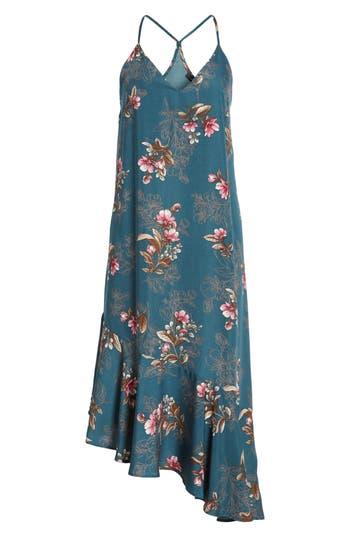 Soprano Asymmetrical Midi Dress, Blue/green