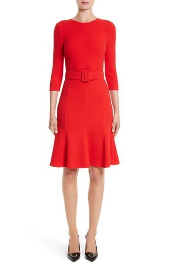 Oscar De La Renta Crepe Fit & Flare Dress, Red