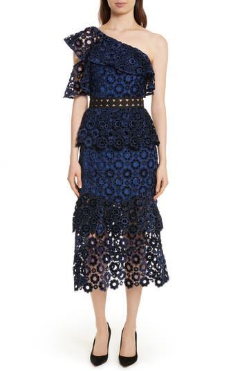 Self-Portrait Lace One-Shoulder Midi Dress, Blue