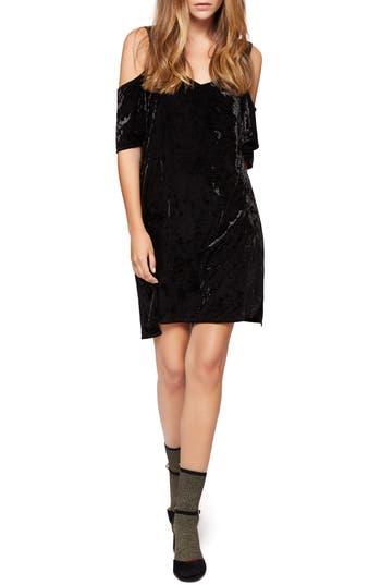 Sanctuary Drea Off The Shoulder Crushed Velvet Dress, Black