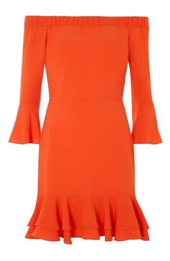 Topshop Off The Shoulder Ruffle Dress, US (fits like 6-8) - Red